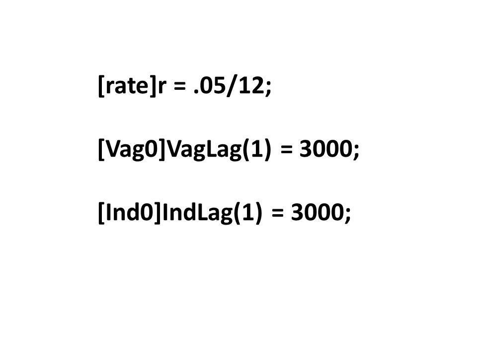 [rate]r = .05/12; [Vag0]VagLag(1) = 3000; [Ind0]IndLag(1) = 3000;